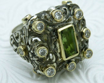 Filigree cocktail ring in sterling silver with green tourmaline - FREE SHIPPING
