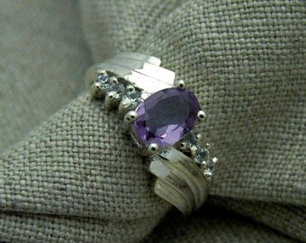 Pale amethyst art deco ring in sterling silver