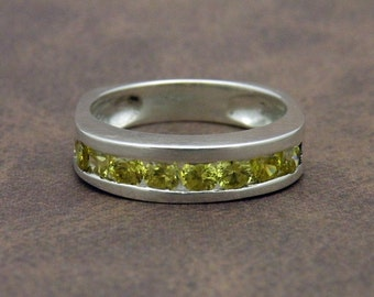 Citrine channel set ring in sterling silver