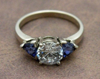 Cubic zirconia and synthetic sapphire ring in 14K white gold