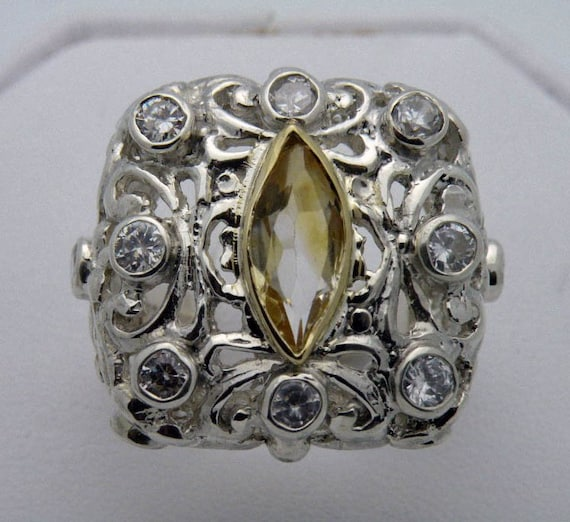Filigree cocktail ring in sterling silver with citrine