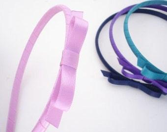 Skinny Satin Tux Headband, Choose Two Colors