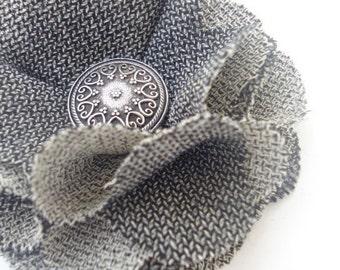 Grey Tweed Fabric Flower, No Slip Hair Clip