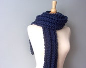 Long Chunky Knit Scarf in Midnight Navy Blue