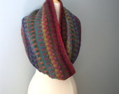 Handmade Wool Multi-Colored Knit Cowl