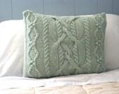 OOAK - Eco Friendly Wool Cable Knit Pillow Sham in Sea Foam