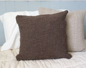 OOAK Eco Friendly Handmade - Cobblestone Knit Pillow Sham in Chocolate