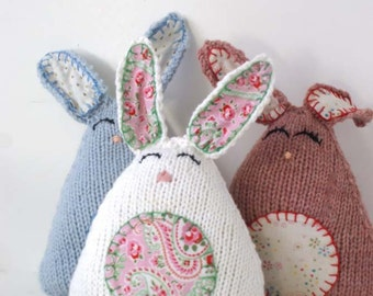 Knit Easter Bunny - First Easter Toy - Stuffed Bunny Rabbit - Soft Toy  - Plush Easter Bunny - Easter Basket Toy - Easter Basket Stuffer