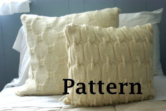Chain Link Cable Knit Wool Pillow Sham Pattern Instant Pdf