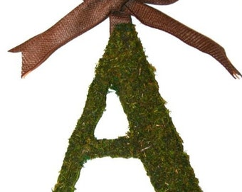 Moss Covered 12 inch Letter Initial Monogram Wreath