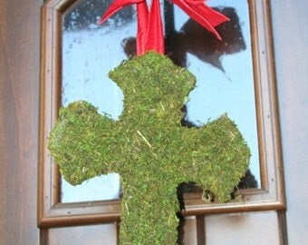 Moss Covered Cross 12  inch Door Wreath with Ribbon