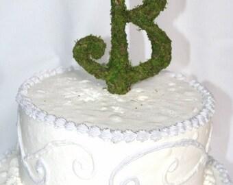 Moss Covered Script Monogram Letter Cake Topper