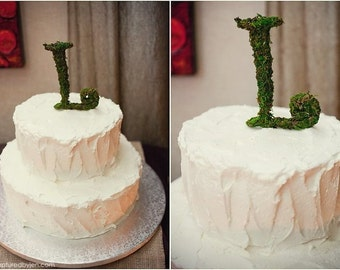 Moss Covered Initial Letter Wedding Cake Topper