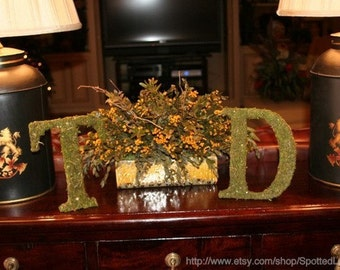 Moss Covered Wedding Standing Table Letters 8 inch set of 2