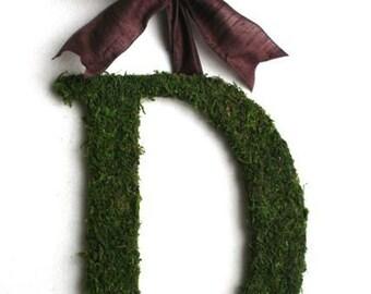 Moss Covered 14 Inch Door WEDDING Wreath Initial Monogram