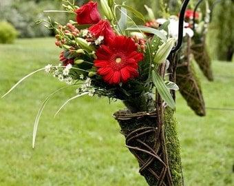Moss Covered Twine Wedding Pew Basket