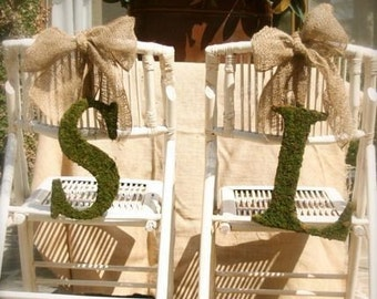 Moss Covered 12 Inch BRIDE and GROOM Chair letters
