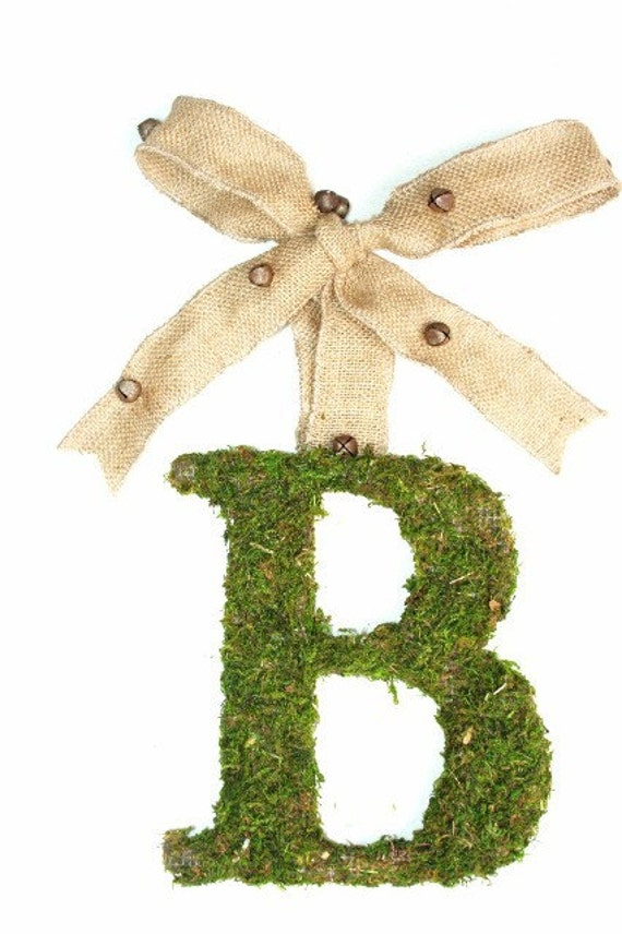 Moss Covered Christmas Wedding Door Initial Letter Monogram Wreath 8 inch