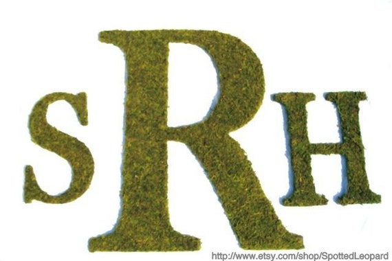Country French Rustic Three Letter Moss Initial Monogram