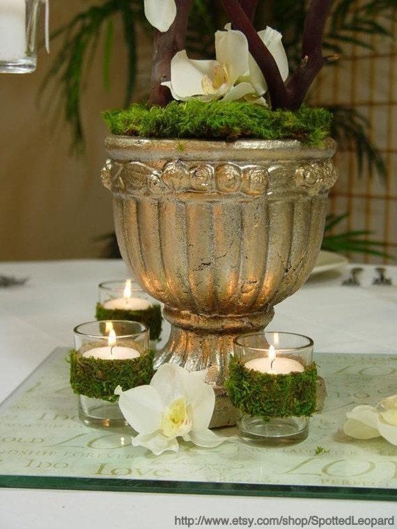 Moss covered TEALIGHT WEDDING candle holder votives