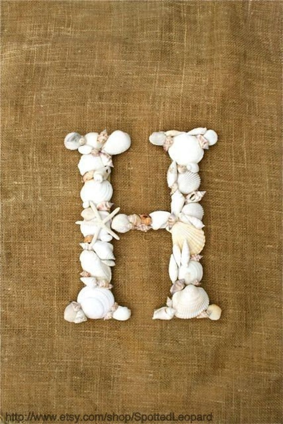 Terrific Sea Shell Covered 12 Inch Wedding Initial Letter By Spottedleopard Door Handles Collection Olytizonderlifede