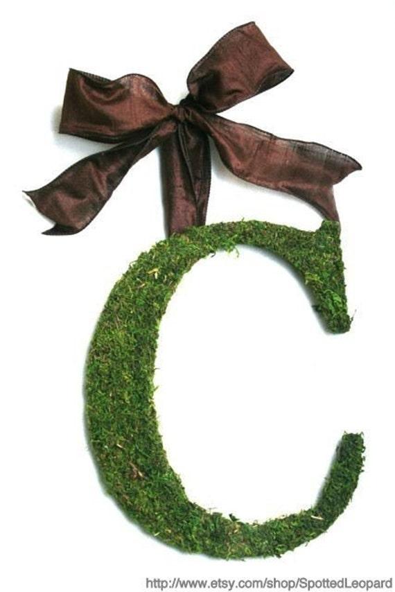 Moss Covered 12 inch Letter, Initial, Monogram Wedding Door Wreath