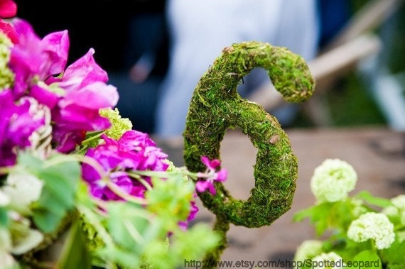 Moss Covered Wedding Table Numbers with Base