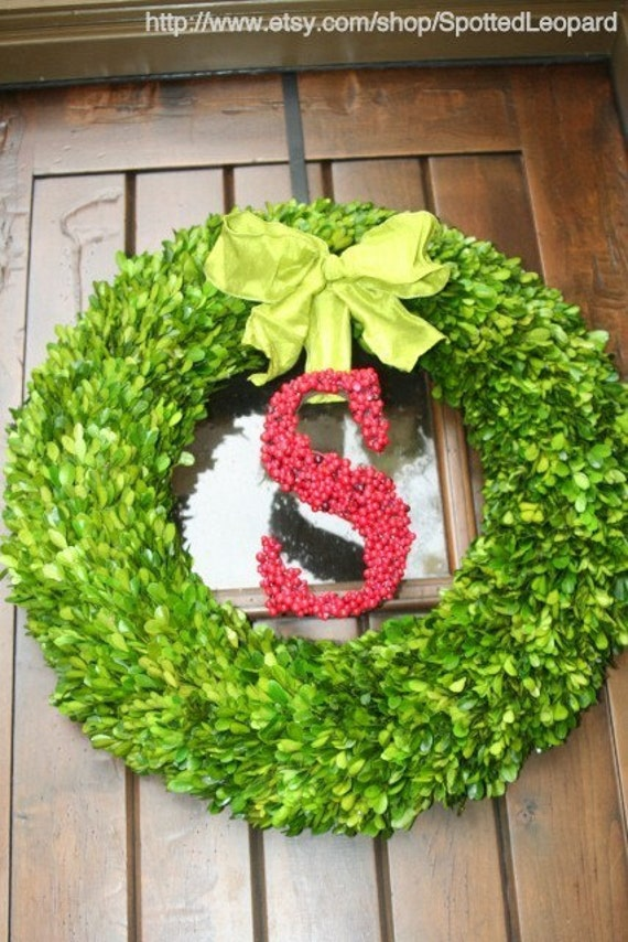 24 inch Boxwood Wreath with Holly Berry Initial Door Wedding  Wreath