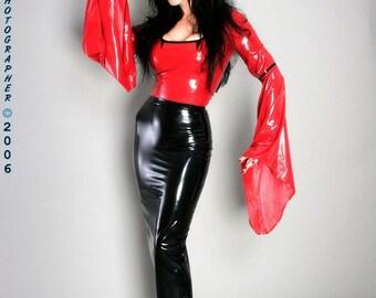 Latex Hobble Skirt with optional back zipper or walking slit, made to order.