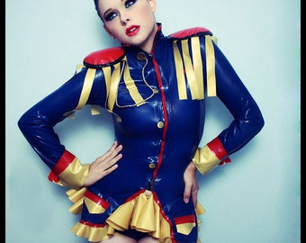 LATEX Military Jacket w/shoulder pads and fringe.  Made to order.
