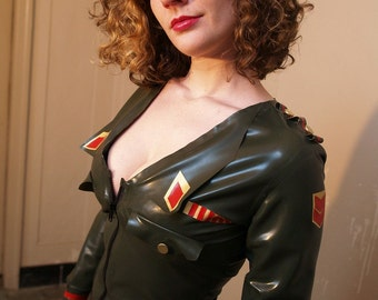 Latex Military Dress, made to order, custom sizing available