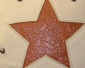 Western rustic light tan with floral embossed star pillow