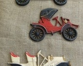 Vintage Cast Metal Cars by Midwest Co. Wall Art Plaques