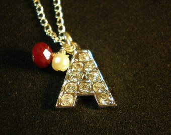 Alabama Crimson Tide Charm Pendant Necklace, Alabama Necklace, Letter A Charm, A Initial Necklace, Rhinestone A Pendant, Crimsom Red & Cream