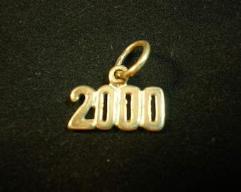 Year 2000 Sterling Silver Charm, 2000 Charm, 2000 Pendant, Birthday Gift, Anniversary Present, Milleninum