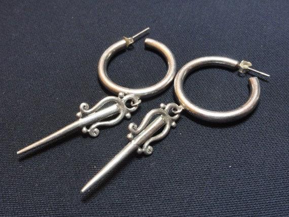 Vintage Hoop with Sword Dangle Earrings-- Sterling SIlver 925