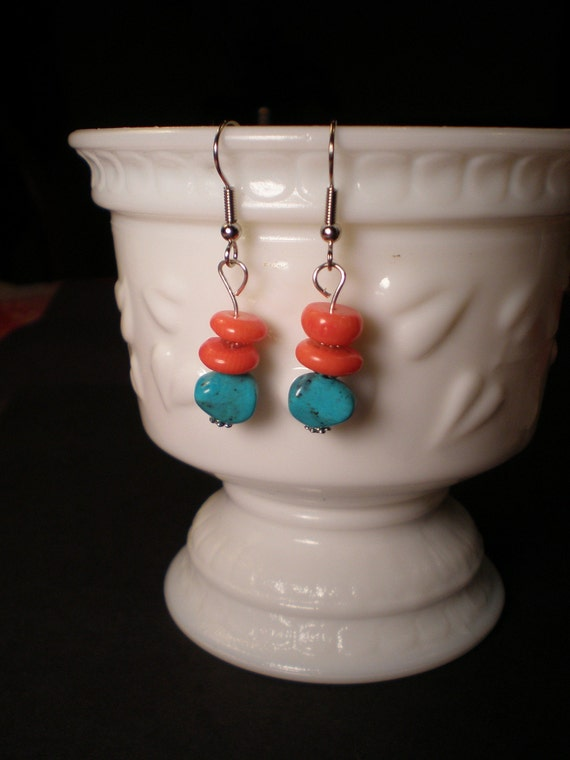 Orange Coral and Turquoise Earrings
