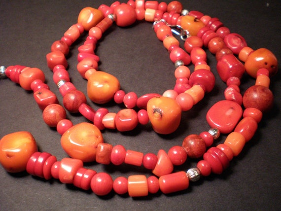SALE Red and Orange Coral Long Necklace