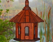 Bird Feeder Hanging Shake Roof Stain Wood Perfect Gift for Valentines