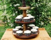 Cupcake Stand 3 Tier  Walnut Wood Heirloom Quality Handcrafted for Celebrations