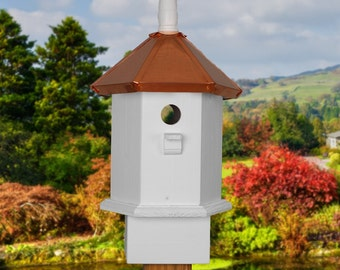 Blue Bird House, Copper Bird Houses, Painted Birdhouse, Gift ideas