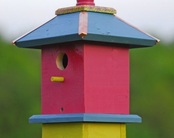 Whimsical Bird House, Painted Bird Houses, Chickadee Birdhouses, Father's Day Gifts