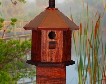 Wren Birdhouse, Copper Bird House, Wood Bird Houses, Rustic Birdhouses