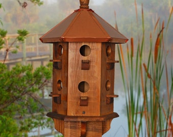 Large Bird House, Copper Birdhouse, Purple Martin Box, Farmhouse, Rustic Birdhouses, Handcrafted, Wooden Bird Houses, Father's  Day Gift
