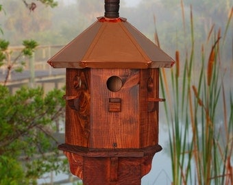 Rustic Bird House Decorative Finch Wooden Birdhouse Farmhouse Style