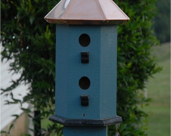 Bird House for Sale Handcrafted Copper Top Painted Storm Black Seaside Cottage Chic Style