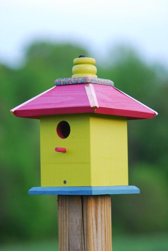 Hanging Bird House, Painted Birdhouse, Wooden Bird Houses, Gift Ideas