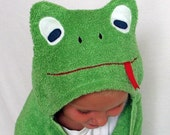 Infant/Toddler/Childrens Hooded Bath Tubby Towel - Bright Green Frog