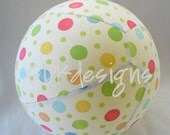 Fabric Balloon Ball - White with Multi Colored Polka Dot  - as seen with Michelle Obama on Parenting.com