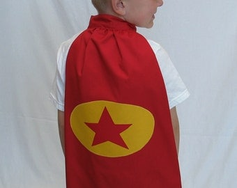 Children's Super hero Cape and Mask Set - Red and Yellow Star - Word Girl